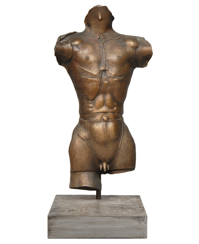 "A bronze relief ""Male torso with medaillon"""