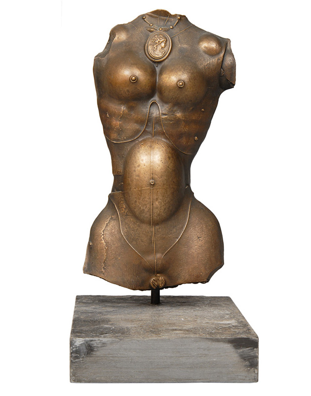 "A bronze relief ""Female torso with medaillon"""