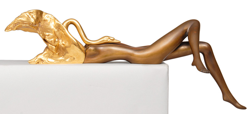 "A bronze figure ""Leda with the swan"""