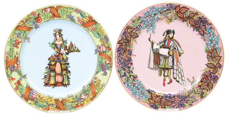 "A set of 4 plates ""4 seasons"" from Versace"