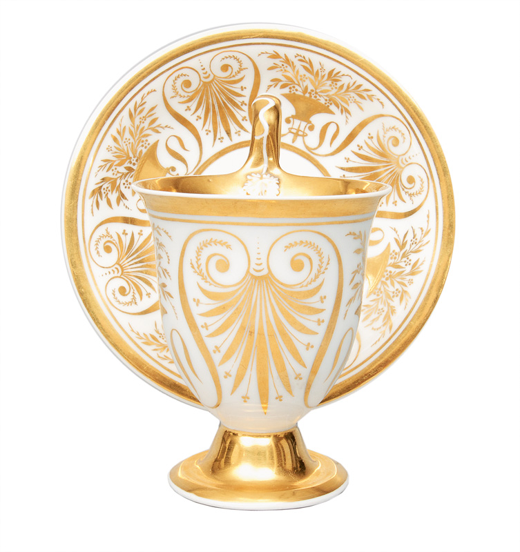 An Empire cup with gold painting