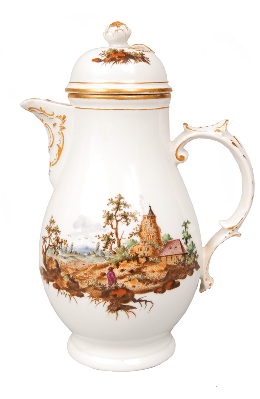 A small jug with fine painting of a landscape