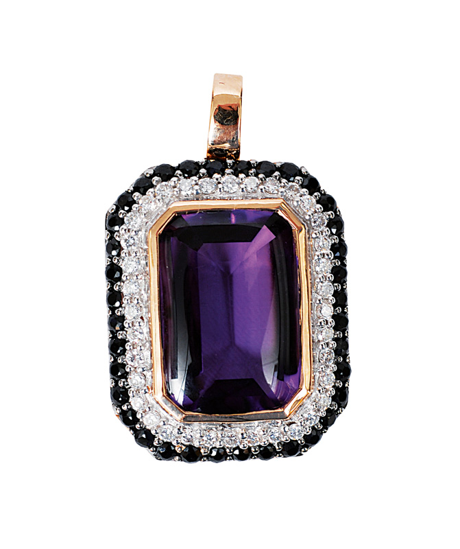 An amethyst pendant with sapphires and diamonds