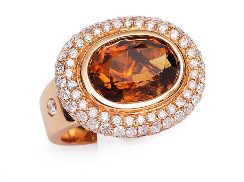 A modern citrine diamond ring