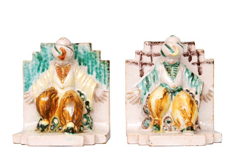 "A pair of faience book end ""Orientals"""