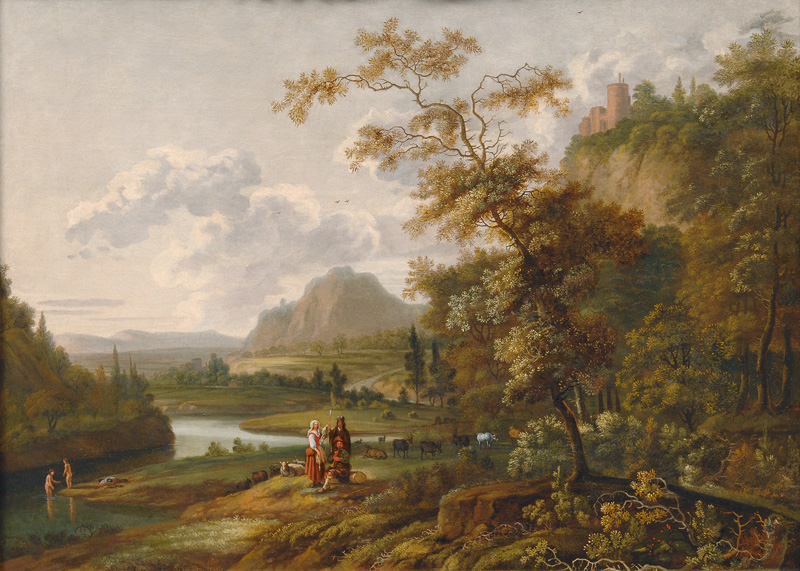 River Scenery with a Castle and Shepherds
