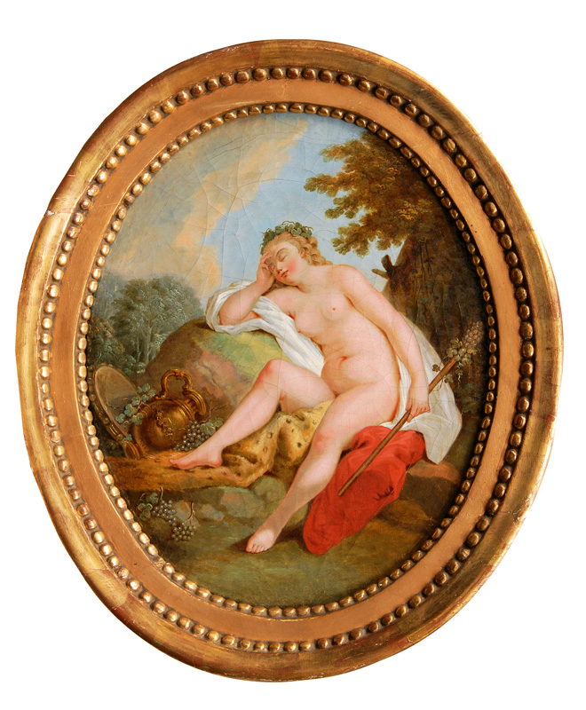 Pair of Paintings: The Toilet of Venus and a Sleeping Bacchante
