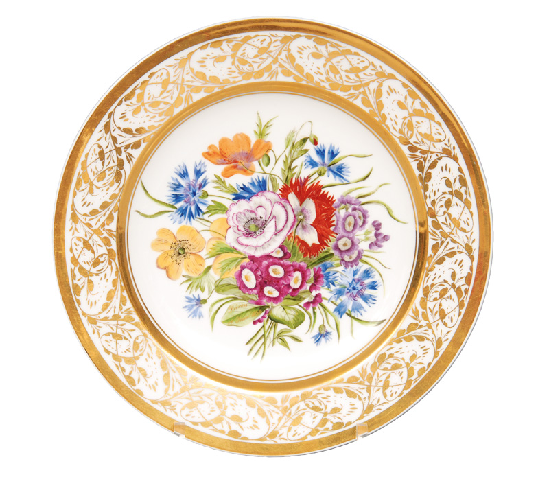 A plate with botanical flower painting