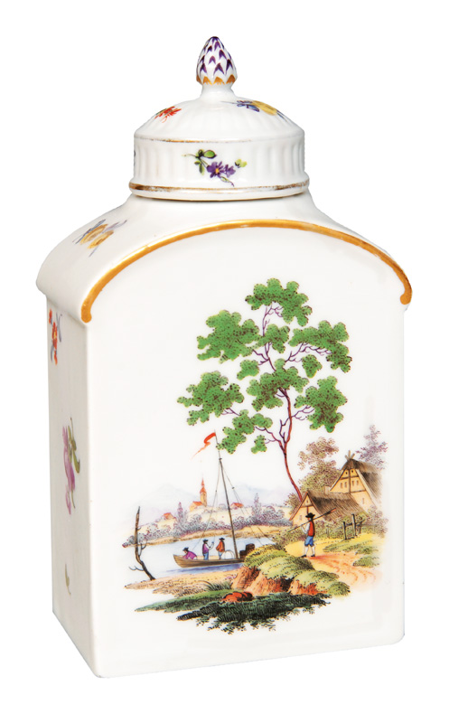 A tea caddy with river landscape