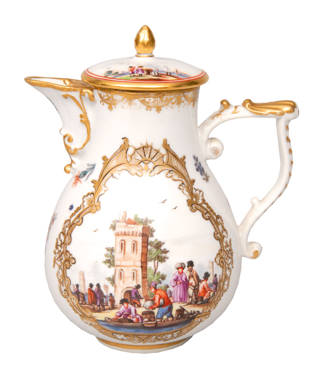 A small jug with fine painted Kauffahrtei scene of Christian Friedrich Herold