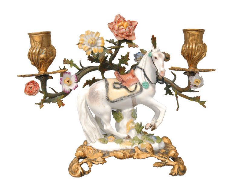 "A porcelain figure ""Horse"" within a bronze mounting"