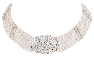 A pearl necklace with diamonds