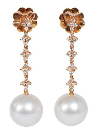 A pair of Southsea pearls earrings with diamonds