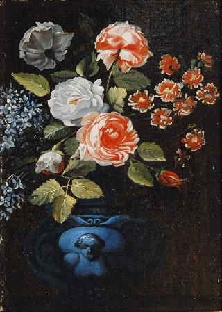 Flower Still Life in a blue Vase