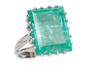 A large emerald ring