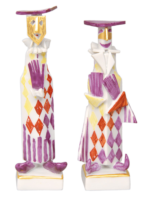 A pair of handsigned, modern figurines
