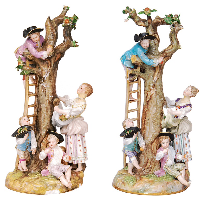 "A pair of figures ""Apple picking"""