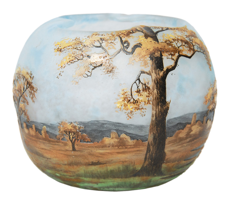 A spherical vase with painting of a landscape