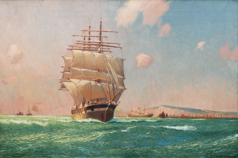 Tall Ship and Steamship of the Hamburg Süd off the Coast of Dover