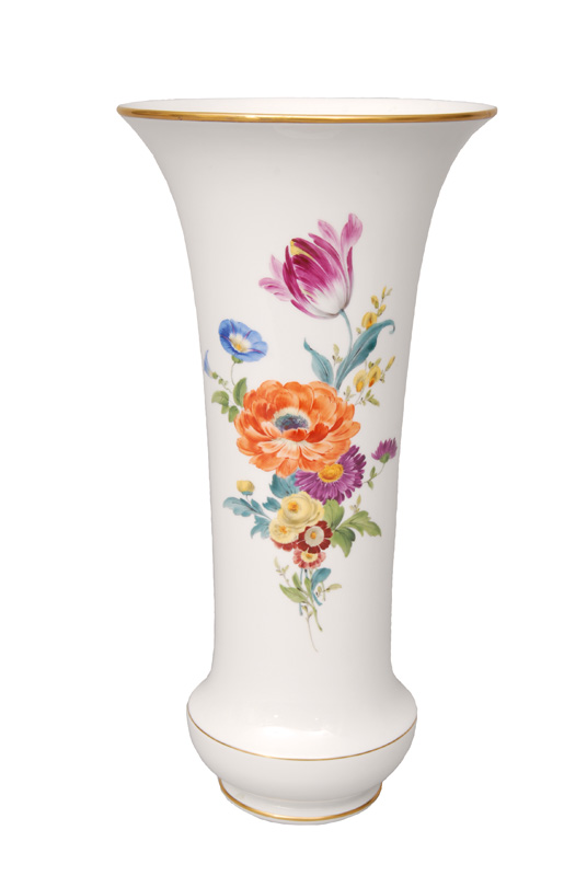 A tall vase with flower painting