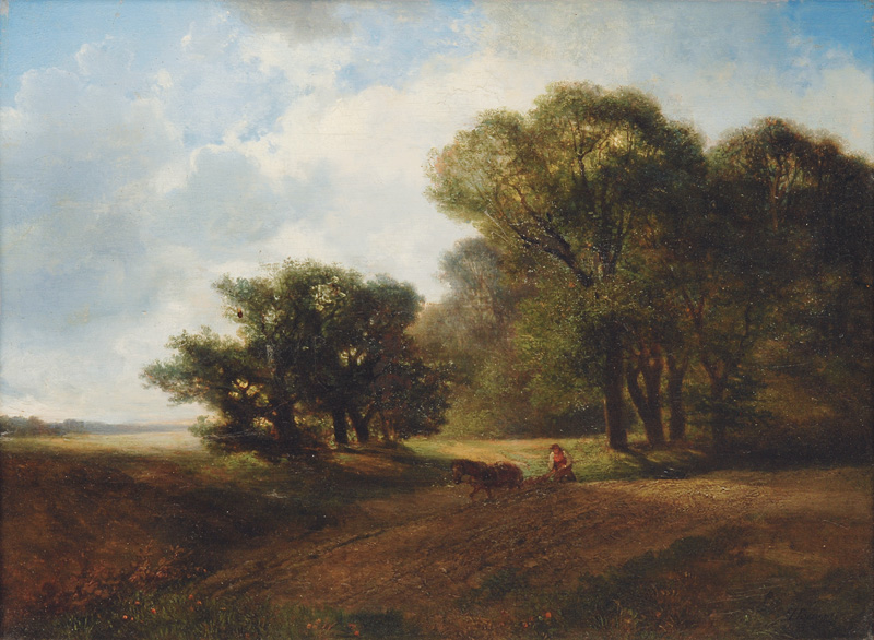 Landscape with ploughing Farmer