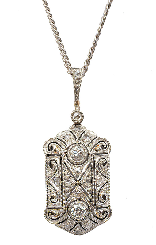 A small Art-Nouveau diamond pendant with necklace
