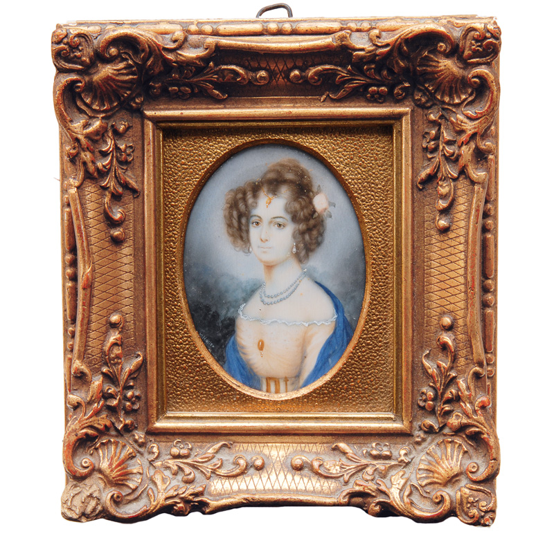 "Miniature ""portrait of a young lady in a light dress with pearl necklace"""