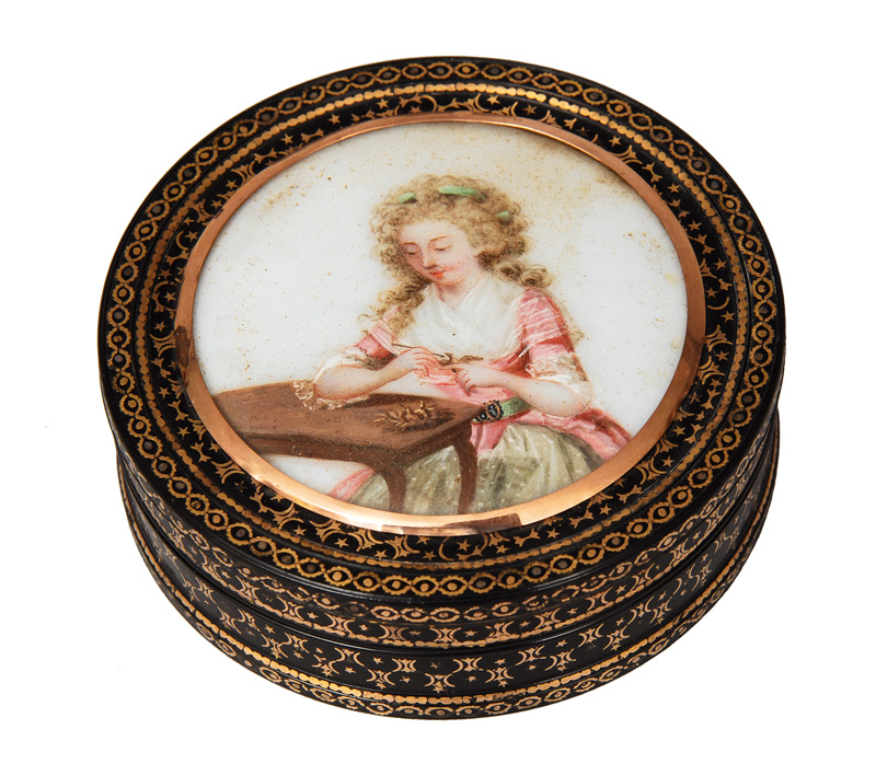 "A Vernis Martin box with miniature ""Young Rococo lady"""