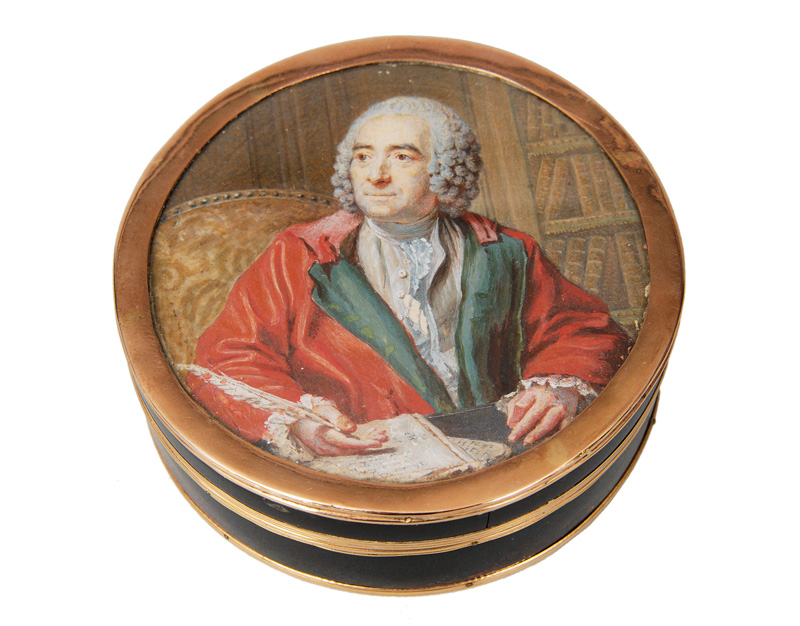 A Vernis Martin box with Rousseau portrait