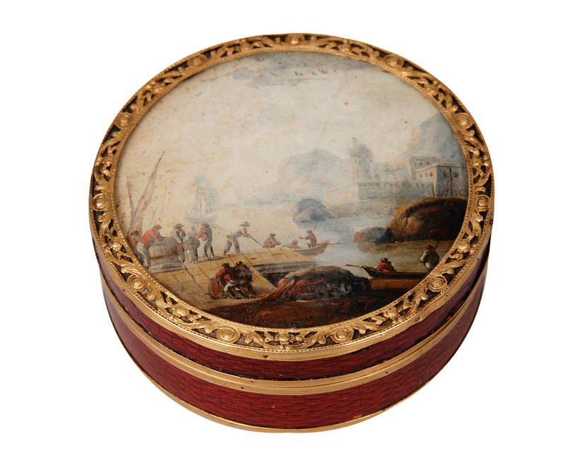 A Vernis Martin box with italian harbour scene