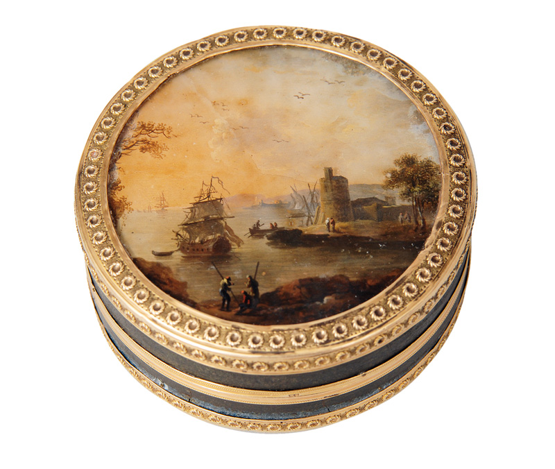 A Vernis Martin box with harbour and genre szene