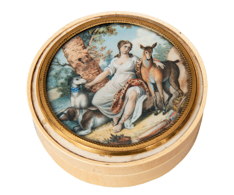 "An ivory box with miniarure ""Resting Diana"""