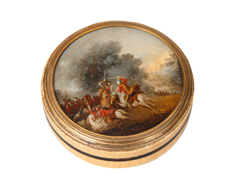 An ivory box with battle scene