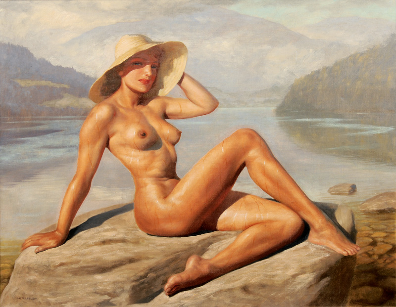 Female Nude on a Rock by a Lake