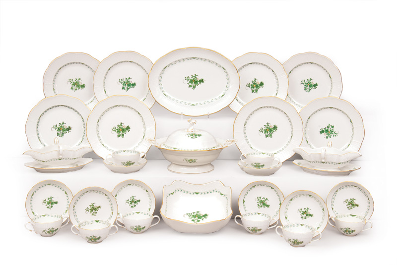 "A dinner service ""Indian Green"" for 12 persons"