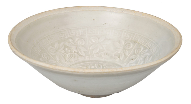 A bowl with floral decor