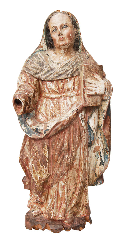"A wood sculpture ""Saint with book"""