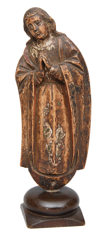 "A wood sculpture ""Crescent moon-Madonna"""