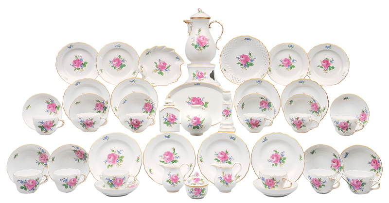 "A coffee service ""Red rose with forget-me-not"" for 12 persons"