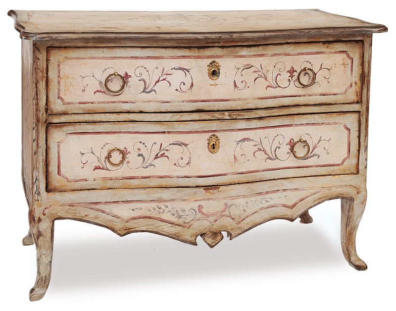 A coloured chest of drawers with floral painting