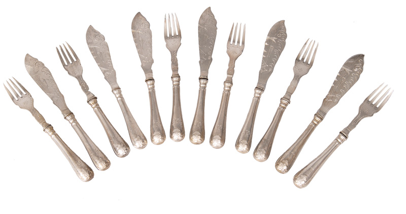 An Art Nouveau fish cutlery for 6 persons with engraved decor