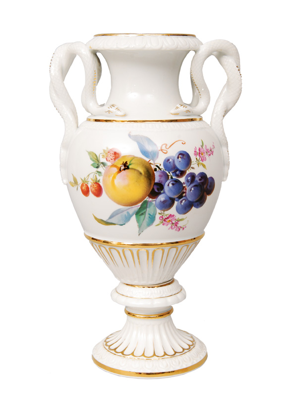 An amphora vase with fruit painting