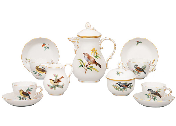 "A mocha set ""Bird painting"" for 4 persons"