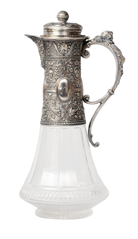 A decanter with silver mounting in the renaissance style