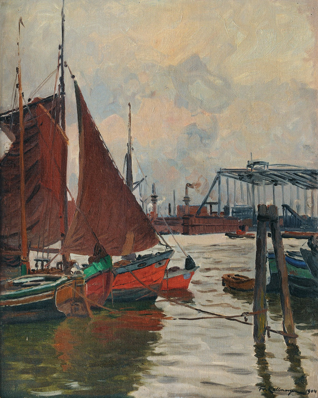 Sailing Boats in the Port of Hamburg