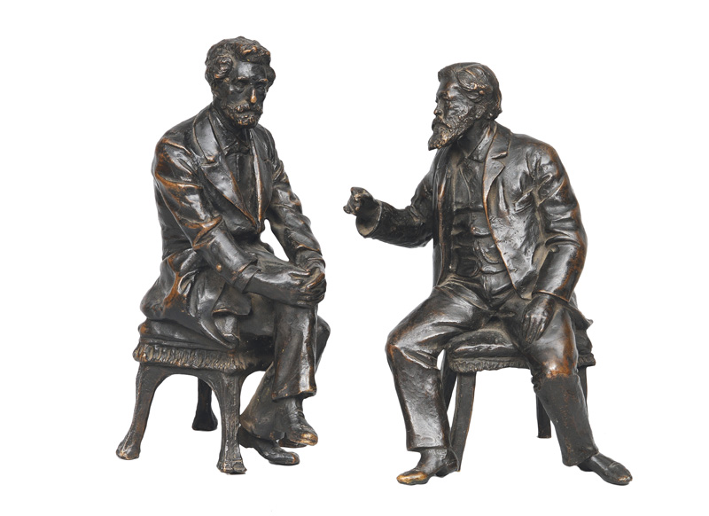 "A couple of bronze-figures ""Lincoln and Grant"""