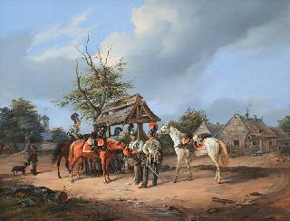 Prussian Cuirassiers resting at a Well