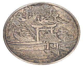 A small plate with Shinto shrine