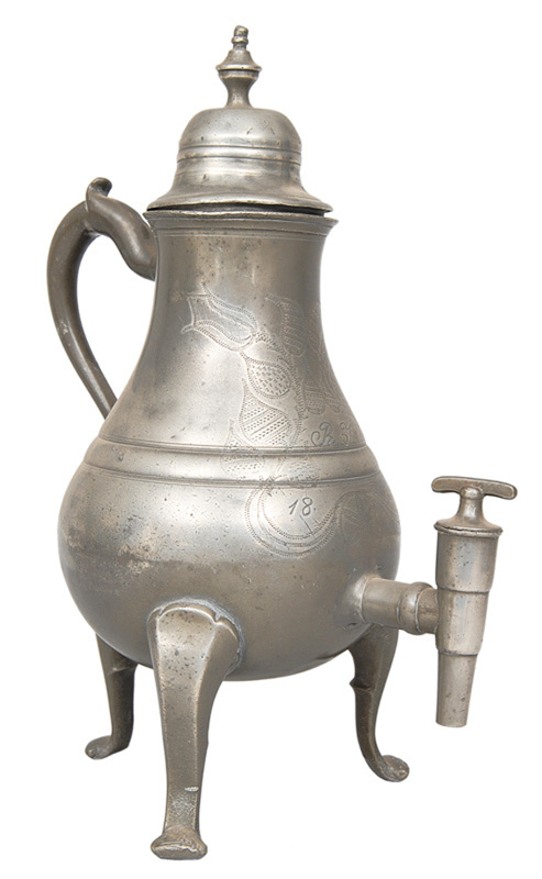 A jug with engraved ornaments
