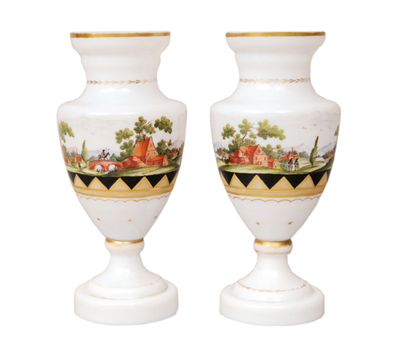 A pair of Biedermeier vases with landscape painting